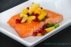 Sweet Salmon with Pomegranate Fruit Salsa recipe: This Sweet Salmon with Pomegranate Fruit Salsa is a feel good meal. Literally, I feel good after I eat it. And satisfied. This is so yummy! Time to dig in!