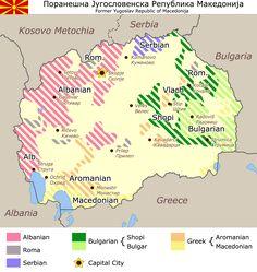 Map of minorities in the Republic of Macedonia by municipality