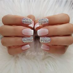 Try some of these designs and give your nails a quick makeover, gallery of unique nail art designs for any season. The best images and creative ideas for your nails. Glitter Gel Nails, Sparkly Nails, Nude Nails, My Nails, Pink Glitter, Gel Ombre Nails, Matte Gel Nails, Glitter French Manicure, Pastel Nails