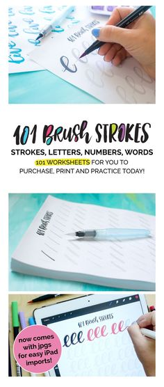 A giant printable workbook. 101 sheets of practice drills, letters, number and words to really start on that lettering journey. Use Tombow markers,water brushes or other handlettering tools. Great for brush calligraphy. Created by TwoEasels. Practice sheets, workbook, worksheets, free, prints, printable, beginner, tutorial, video, how to.