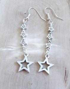 Silver Star Dangle Earrings Chandelier by AlsJewelryDesigns