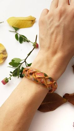 Braided Leather Bracelet, Mystery Braid Wristband, Stackable Handpainted Leather Jewelry, Camel Bohemian Jewelry, Autumn Cuff Bracelet