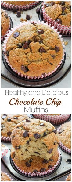 Healthy Bakery Style Chocolate Chip Muffins - Sugar free, Gluten Free, Butter Free and they taste AMAZING! Pin and make!