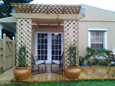 trellis, curb appeal, decks, outdoor living, Trellis with deck and planters with Confederate Jasmine