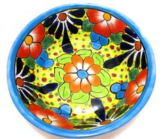 """TALAVERA BOWL PLATE HAND PAINTED MEASURES 7"""" X 2.25"""" TALL WEIGHTS 1+LBS MADE IN MEXICO SIZE AND COLOR MAY VARY ITEM THAT YOU SEE IN PICTURE IS THE ITEM YOU WILL RECEIVE"""