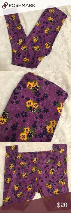 Lularoe Purple Floral Blue Yellow Print Leggings Lularoe Purple Floral Blue Yellow Print Leggings. New without tags. Never tried on or worn. One size. Fast shipping. Smoke free and pet free home. No trades or modeling. Bundle to save. Offers welcome! LuLaRoe Pants Leggings