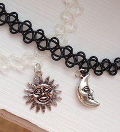 sun & moon tattoo choker necklaces