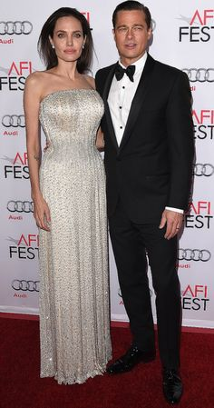 "Angelina Jolie and Brad Pitt attend the AFI FEST screening of ""By the Sea"" in Los Angeles on Thursday."