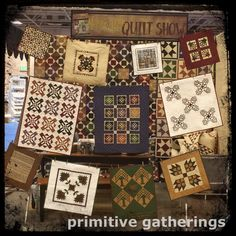 11 of the little quilts that will be in the Little Gatherings Book out in August Colorful Quilts, Small Quilts, Mini Quilts, Miniature Quilts, Miniature Dolls, Primitive Quilts, Primitive Gatherings, Quilt Material, Doll Quilt