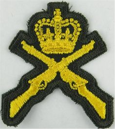 Canada: Marksman - Crown / Crossed Rifles - Merrowed Yellow On Dark Green Army cloth trade badge for sale