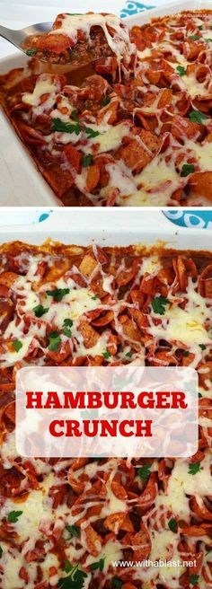 Crunchy, saucy Hamburger casserole is the ideal dinner on a busy week day Lamb Recipes, Meat Recipes, Cooking Recipes, Recipies, Crockpot Recipes, Hamburger Casserole, Casserole Recipes, Casserole Dishes, Delicious Dinner Recipes