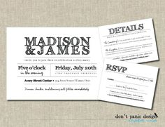 Rustic Printable Wedding Invitation Set - Black and White Handwritten - Custom Colors - Handwritten Wedding Invitations, Vintage Wedding Invitations, Rustic Invitations, Printable Wedding Invitations, Wedding Invitation Sets, Invitation Design, Rustic Wedding Programs, Black And White Wedding Invitations, Rehearsal Dinner Invitations