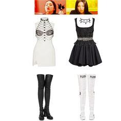 Korean Street Fashion Urban Chic, Urban Fashion, Stage Outfits, Kpop Outfits, Pop Fashion, Fashion Outfits, K Pop, Fashion Design Drawings, Polyvore Outfits