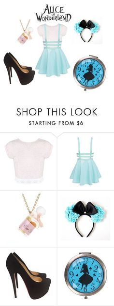 """""""Alice in Wonderland"""" by geekyhearts on Polyvore featuring Miss Selfridge, Disney and Christian Louboutin"""