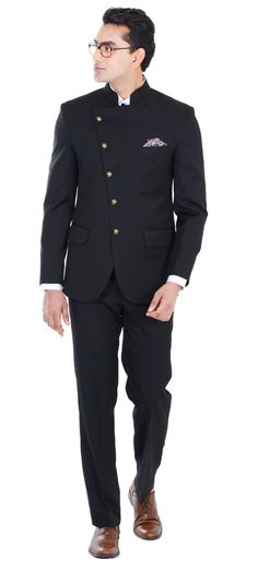 A stylish take on the evergreen style of the classic closed collar 5 button suits. Add a pocket square for a touch of flavor. Perfect style for a perfect budget. Super 110s counts Australian Merino Wool Blended Wrinkle Resistant All season wear Suitable in all weather conditions a perfect all season suit. Combine it with any mandarin collar shirt and it is good to go.