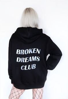 """A simple black hoodie, made from cotton and polyester, features """"BROKEN DREAMS CLUB"""" glow in the dark lettering on the back side and a smaller version on the front top corner of the hoodie. Perfect for casual wear. Hoodie Sweatshirts, Comfy Hoodies, Aesthetic Hoodie, Aesthetic Clothes, Sweatshirt Outfit, Tumblr Outfits, Grunge Outfits, Tumblr Girly, Broken Dreams"""
