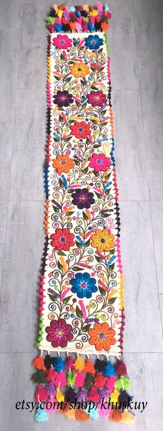 Your place to buy and sell all things handmade Flower Embroidery Designs, Embroidery Ideas, Bohemian Rug, Boho, Wool Runners, Bed Runner, Sheep Wool, Off Colour, Vibrant Colors