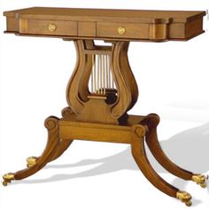 Classic reproduction Lyre side table 2 drawer, made of solid mahogany wood. Finished in walnut color stain, NC finished