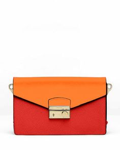 Saffiano Bi-Color Sound Bag, Red/Papaya by Prada at Neiman Marcus.