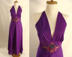 $42.22 Purple Nightgown. Halter Dress. vintage 70s Purple Nylon Halter Top gown w/ Embroidered Floral Design. Queens Way To Fashion. size 36 Medium by wardrobetheglobe on Etsy