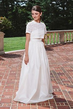 Would You Wear A Crop Top On Your Wedding Day? #refinery29  http://www.refinery29.com/crop-top-wedding-dresses#slide2  For a more demure take on the cropped look, opt for a full, high-waisted skirt.RELATED: These Wedding Cake Trays Beg For Second Helpings