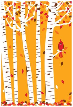 Screenprint Art Print Poster Autumn Cardinal - Fall Birch Trees with Leaves  Red Bird Art Print Poster