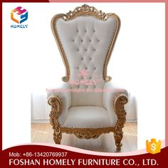Wholesale Royal Dubai Antique Wooden Carved Gold Wedding High Back King  Chair Sofa Cheap King Throne Chair Rental For Party