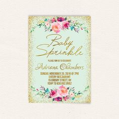 Confetti girls baby shower invite mint and gold floral baby