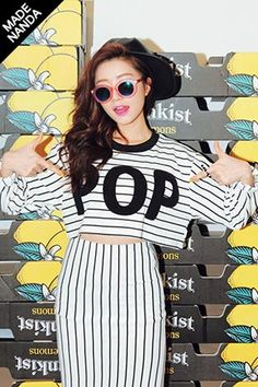 Today's Hot Pick :POP刺繍細ボーダークロップドTシャツ http://fashionstylep.com/SFSELFAA0022943/stylenandajp/out