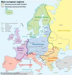 Main European regions by following cultural proximities