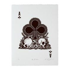 PRE-ORDER: Calaveras Ace of Clubs Woodcut Print