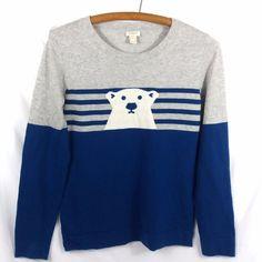 J Crew Factory Instarsia Polar Bear Sweater Size Small Winter Knit Gray Blue #JCrew #Crewneck