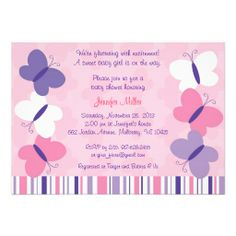 Pink and Purple Butterfly Baby Shower Invitations