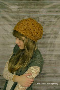 Slouchy Hipster Crochet Beanie Mustard