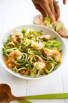 mango & cucumber spiralized noodle salad