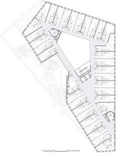 Image 2 of 29 from gallery of Irene Joliot Curie Residences / DATA [Architectes]. Courtesy of DATA [Architectes] Hotel Design Architecture, Architecture Concept Diagram, Education Architecture, Architecture Plan, Residential Architecture, Plano Hotel, Hotel Floor Plan, Floor Plan Drawing, Hospital Design