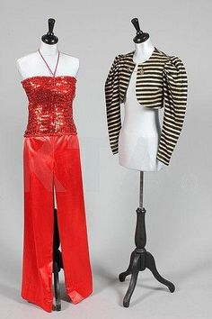 Biba mid 1970's sequin boob tube and linen trousers. Mine were bright yellow.