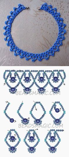 Free pattern for necklace Blue Sky 11/0-4-6 mm golyó #BlueSky
