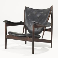 "FINN JUHL; NIELS VODDER;  Early Chieftain Chair, Denmark, 1949; Teak, leather; Branded, brass retailer's labels; 37"" x 40 1/2"" x 35."