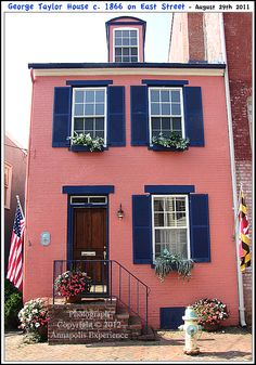 The George Taylor House c. 1866 on East Street in Annapolis Maryland. Photograph taken on August 29th 2011. To see a full size version of this photograph, as well as the accompanying Annapolis Experience Blog article, please click through on the Pinterest images for it. Copyright © 2012 Annapolis Experience