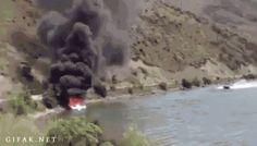 STRANGE EMERGENCY INGENUITY - SPEEDING BOAT VEERS SHARPLY TO SPRAY WATER OF BOAT FIRE! - CRAZY ACTION GIF!