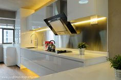 Open Kitchen Concept - Especially like the clean white cut with the magnetic board at the back