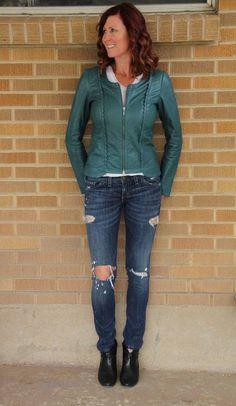 Hinge~Green Soft Leather Scalloped Jacket~Teal~S~$298 *SOLD OUT ONLINE* #Hinge #BasicJacket