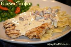 Chicken Terrifica from 3guysoutside.com. Grilled chicken served with pasta and a delectable sauce on top! You will love it! Outdoor cooking at its finest.
