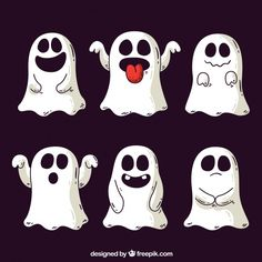 Ghost Vectors, Photos and PSD files Moldes Halloween, Fröhliches Halloween, Halloween Icons, Halloween Doodle, Halloween Drawings, Halloween Patterns, Ghost Cartoon, Funny Ghost, Cute Ghost
