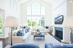 blue and white living room | Markay Johnson Construction