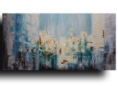 Sunset in the City 24x48 Original ART Abstract by studiomosaic