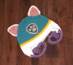 Everest Paw Patrol Crochet Character Hats Dog Hat Made to