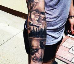 Tattoo Arm See Frau Bäume Mond