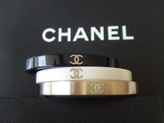 New 2013 Chanel Bangle Cuff Dress Bracelet Black Bone Gold